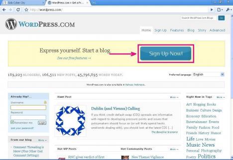 cara mendaftar dan membuat blog wordpress